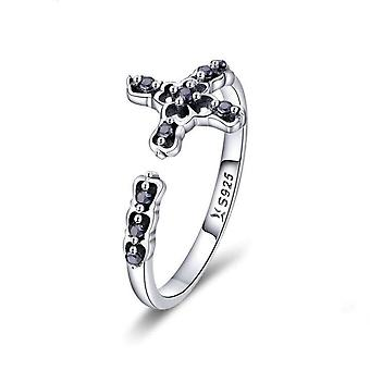 Silver plating  Adjustable Finger Rings for Women Black  Ring Jewelry