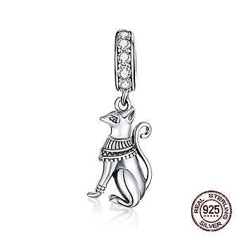 925 Sterling ezüst nyaklánc medál egyiptomi macska charms nő luxus ékszerek