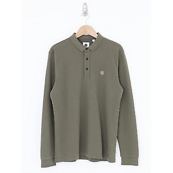Pretty Green Military Long Sleeve Polo - Khaki