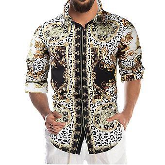Silktaa Men's Retro Floral Print Disco Long-sleeved Button Casual Shirt