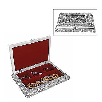 Handgjord oxiderad bokformad smyckesklåda med påfågeldesign