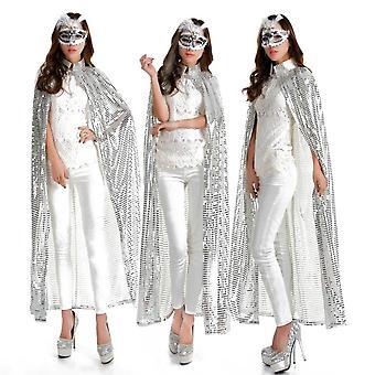 Adult Women Long Maxi Paillette Cosplay Cape, Halloween Xmas Party Sequins Cloak
