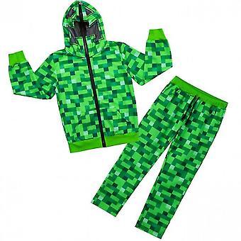 男の子のためのマインクラフトクリーパーワンシー|クリーパーフェイスフード付きキッズグリーンソフトピクセル化スリープスーツ