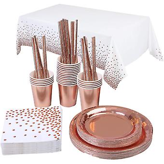 Rose Gold Party Tableware Party Supplies Gold Dot Tablecloth Plates Cups Straws
