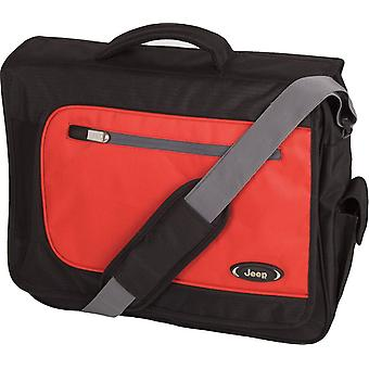 Jeep Bristol Laptop messengertas, zwart/rood