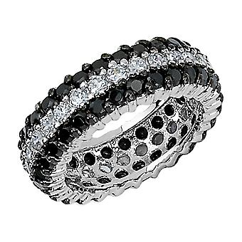 Cheryl M. White and Black Synthetic Cubic Zirconia (CZ) (CZ) Eternity Ring in Sterling Silver