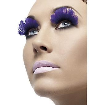Wimpern künstliche Augenwimpern LILA BLAU mit Federn