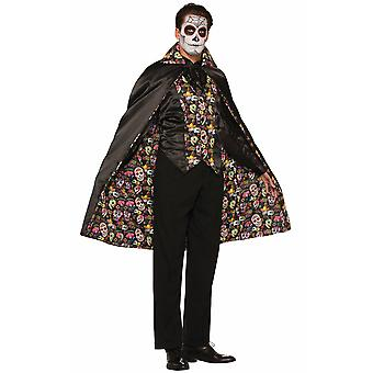Day Of The Dead Skulls Bones Skeleton Mexico Spanish Men Costume Cape