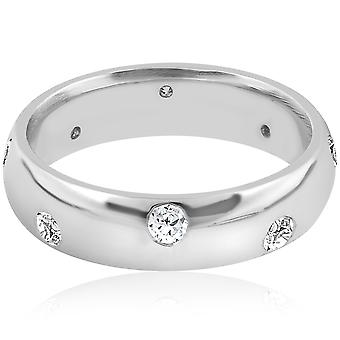 Mens 3/4ct Comfort Fit 14K White Gold Wedding Band Ring High Polished Bezel Set
