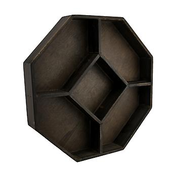 Dark Brown Wooden Geometric Hexagon Crystal Display Shelf