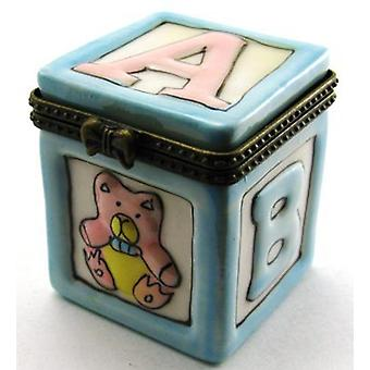 Baby Shower Gift Blue Building Block Trinket Box phb