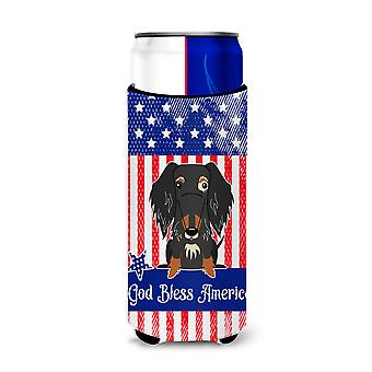 Patriotic USA Wire Haired Dachshund Dapple Michelob Ultra Hugger for slim cans