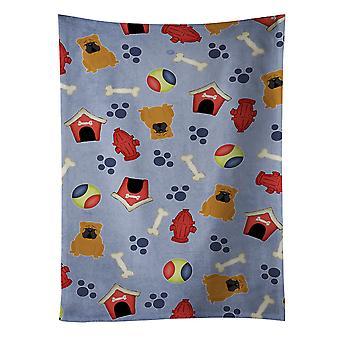 Dog Bulldog House samling engelska rött kökshandduk