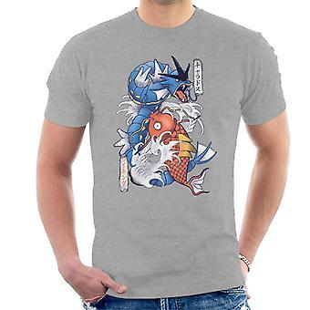 T-shirt Pokemon Koi Magikarp e Gyarados masculino