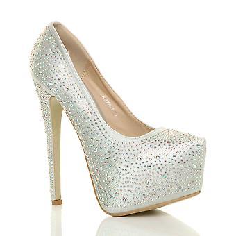 Ajvani Damen high Heels Diamante Hochzeit Abend Prom Plattform Pumps