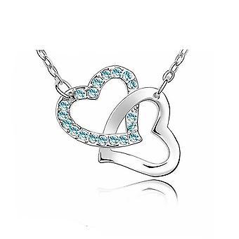 Womens Love Heart pendentif collier bleu ciel pierres