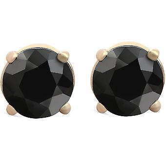 1 1/2 ct 14 k Gelb Gold runden schwarzen Diamanten Ohrstecker Damen Ohrringe