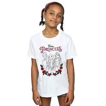 Disney princesa meninas flor equipe t-shirt