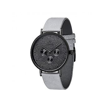 Grooved wood mens watch item Caspar Dark Slate concrete grey