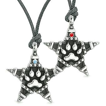 Wolf Pfote Superstar Pentagramm macht Liebe Paare Beste Freunde blau rote Kristalle Halsketten