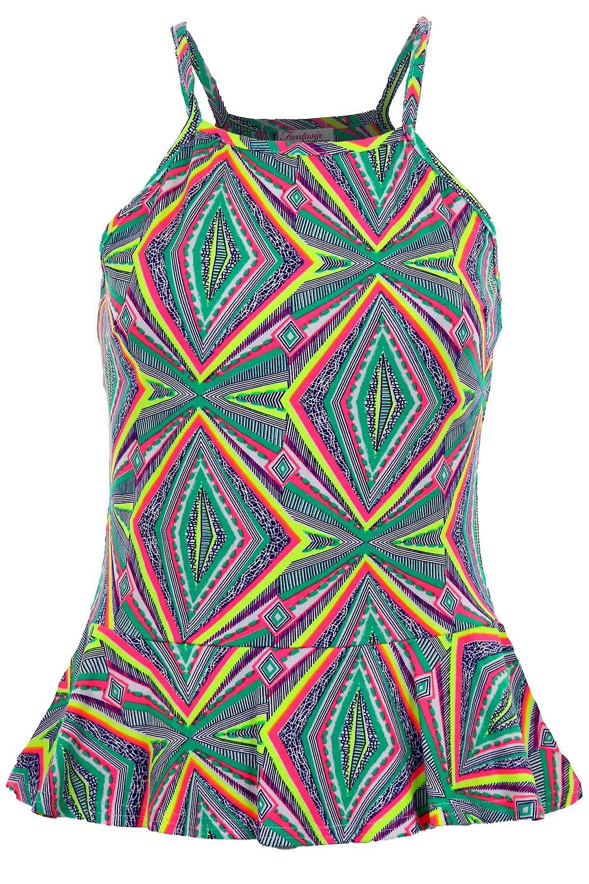 Ladies Sleeveless Strappy Cami Neon Aztec Print Women's Frill Peplum Vest Top