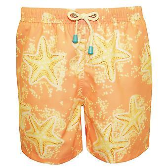 Oiler & Boiler Old Skool Starfish Print Swim Shorts, Peach/lemon