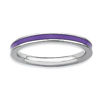 925 Sterling Silver Polished Rhodium plated Stackable Expressions Purple Enameled 2.25mm Ring Jewelry Gifts for Women -