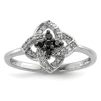 925 Sterling Silver Polished Prong set Open back Gift Boxed Rhodium plated Black and White Diamond Pinwheel Ring Jewelry