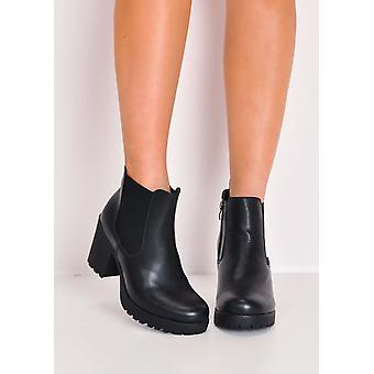 Genoppte Plattform elastische Chelsea-Ankle-Boots aus Kunstleder schwarz