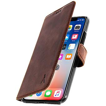 Akashi slim case, real leather wallet cover for Apple iPhone X, XS - Brown