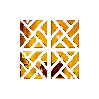 TRIXES 4PC 3D Geometric Mirrored Pattern - Colour Gold - Wall Art Decoration