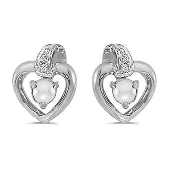 LXR 14k Weißgold Freshwater Cultured Perle und Diamant Herz Ohrringe