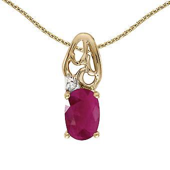 LXR 14k or jaune rubis ovale et pendentif en diamant 0.36 ct