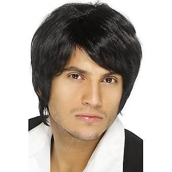 Short Black Parted Wig, Boy Band Wig, Fancy Dress Accessory