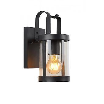 Lucide Lindelo Cottage Round Metal Black Wall Light