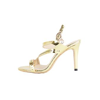 Lovemystyle Gold Heeled Sandals With Perforated Strap