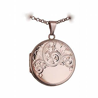 9ct Rose Gold 29mm half hand engraved flat round Locket with a belcher Chain 24 inches