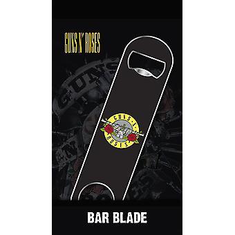 Guns N' Roses bar hoja botella abridor logo negro, metal, en la tarjeta de la ampolla.