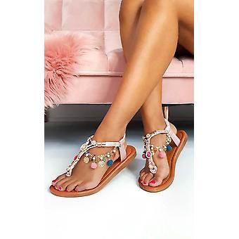 IKRUSH Womens Steffi keten Jewelled T-Bar sandalen