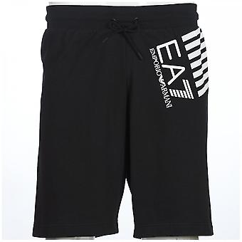 EA7 by Emporio Armani Cotton Printed Logo Black Shorts
