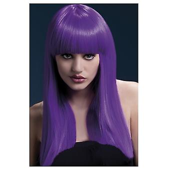 Lussuoso parrucca parrucche viola lungo con frangia Alexia