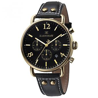 Thomas Earnshaw Watches Es-8001-01 Investigator Gold & Black Textured Leather Mens Chronograph Watch