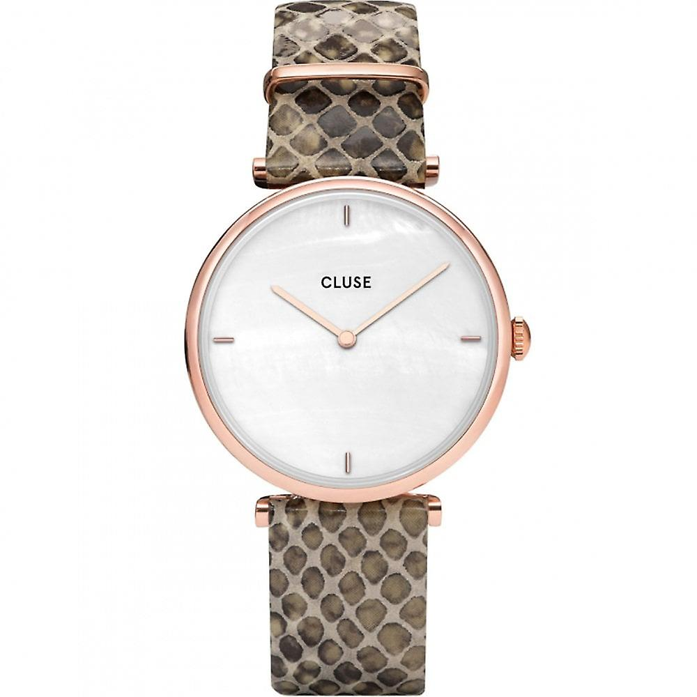 Cluse Cl61007 Triomphe Rose Gold, White Pearl & Soft Almond Python Leather Ladies Watch