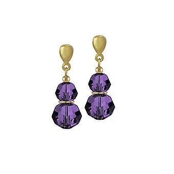 Eeuwige collectie Echo Purple Velvet Oostenrijkse Crystal Gold Tone Drop doorboord oorbellen