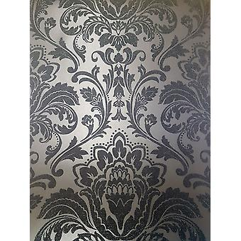 Black Damask Glitter Wallpaper Retro Texturierte Shimmer Holden-Decor Feature