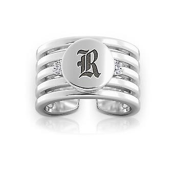 Rice University Engraved Sterling Silver Diamond Multiband Cuff Ring