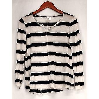 Holly Robinson Peete Top Stripe Notch Neck Long Sleeve Tunic Gray A432830