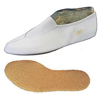 """""""IWA-200"""" witte gymnastiek schoen in leer met rubberen zool"""