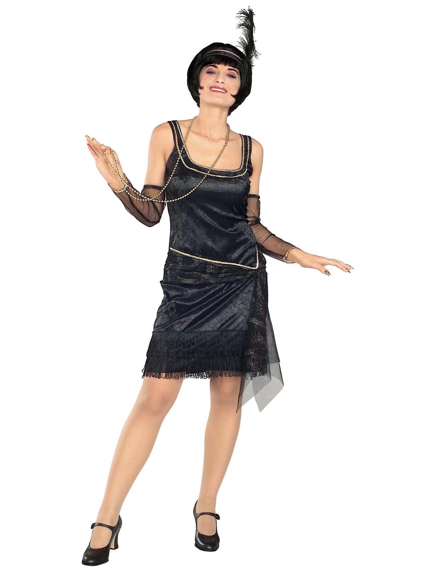 Snakk Easy flapper 1920 Gatsby jazz Deluxe svart kjole voksen kvinner drakt