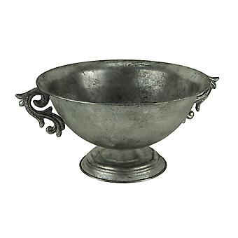 Antique Silver Metal Decorative Pedestal Bowl with Floral Scroll Handles